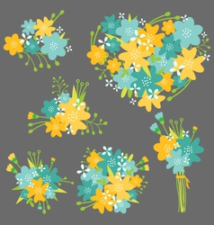 Floral Bouquet in Yellow and Blue vector image vector image