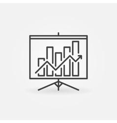 Growing graph presentation linear icon vector image vector image