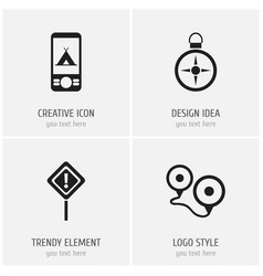 set of 4 editable trip icons includes symbols vector image