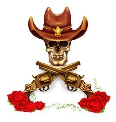 Sheriff Skull In Cowboy Hat And With Gun vector image vector image