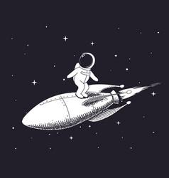 Spaceman flies on rocket vector
