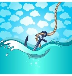 Anchor falls into the water vector
