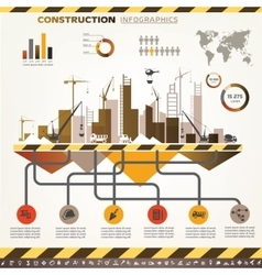 building and construction infographics icons set vector image vector image