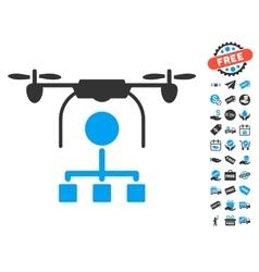 Drone Distribution Icon With Free Bonus vector image vector image