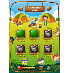 Game template with camping theme vector image