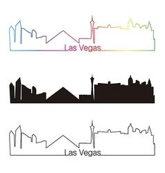 Las Vegas skyline linear style with rainbow vector image