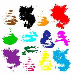 Bright multicolored grunge watercolor circles vector