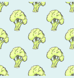 fresh broccoli inside endless texture vector image