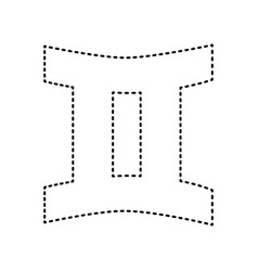 gemini sign black dashed icon on white vector image