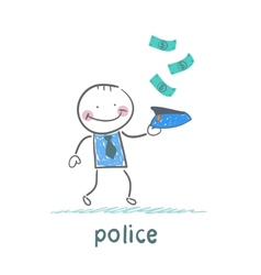 police collect money which fall vector image vector image