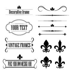 Set of frames deviders and borders - fleur de lis vector image vector image