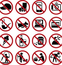 set prohibited signs vector image vector image
