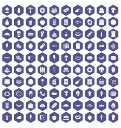 100 food shopping icons hexagon purple vector