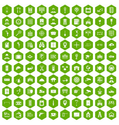 100 keys icons hexagon green vector
