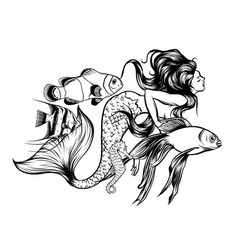 a mermaid and her vector image