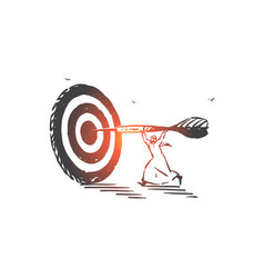 Achievement aim skill concept sketch hand drawn vector