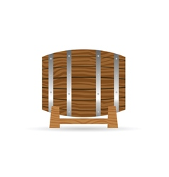 Barrel icon wooden in brown vector