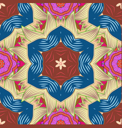 Blue beige and brown colors ethnic mandalas vector