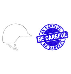 Blue distress be careful seal and web mesh vector