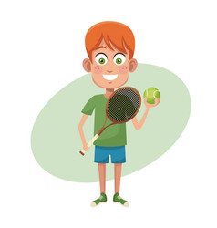 Boy sport tennis image vector