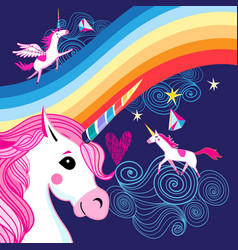 Bright poster with a rainbow and unicorns vector