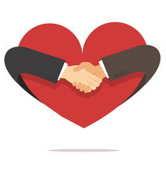 businessman hand shaking hand with heart vector image