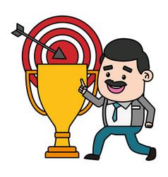 Businessman trophy target vector