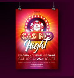 Casino night flyer with vector