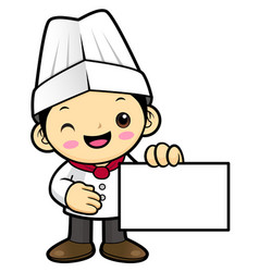 chef character holding a business card isolated vector image