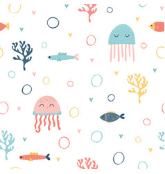 Childish seamless pattern with cute hand drawn vector