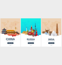 china russia india time to travel set of vector image