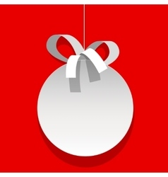 Christmas bauble white ball with a ribbon vector image