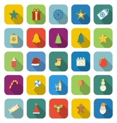 Christmas color icons with long shadow vector image