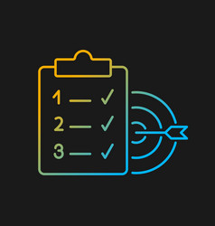 Clear goals gradient icon for dark theme vector