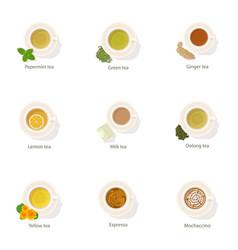 coffee beverage icons set cartoon style vector image