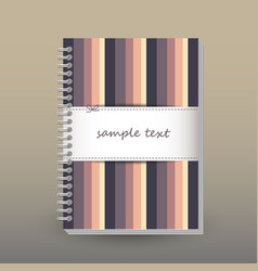 Cover of diary or notebook retro striped vector