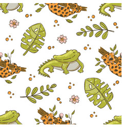 crocodile and leopard hand drawn grunge seamless p vector image