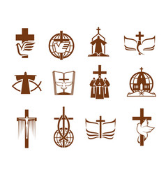 Cross bible dove and priest religion icons vector