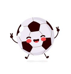 cute happy smiling football ball vector image