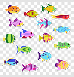 Cute stickers of sea marine fish set o vector