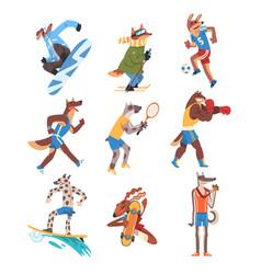 Dog doing various kinds sports set animals vector