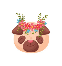 Dog head with flower wreath flora and fauna vector