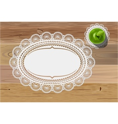 Doily mats and apple vector