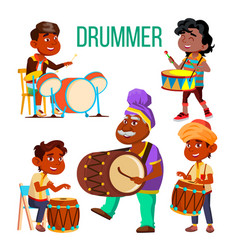Drummers using ethnic percussion characters vector