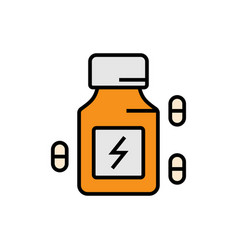 Energy booster supplement icon with pill capsule vector