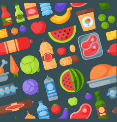 everyday food products seamless pattern background vector image vector image