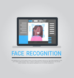 face recognition technology laptop computer vector image