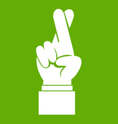 Fingers crossed icon green vector