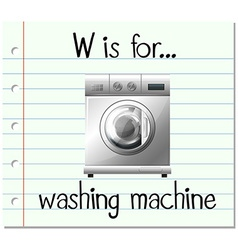 Flashcard letter W is for washing machine vector