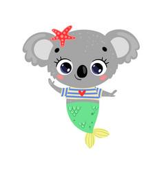 flat cute cartoon koala mermaid vector image